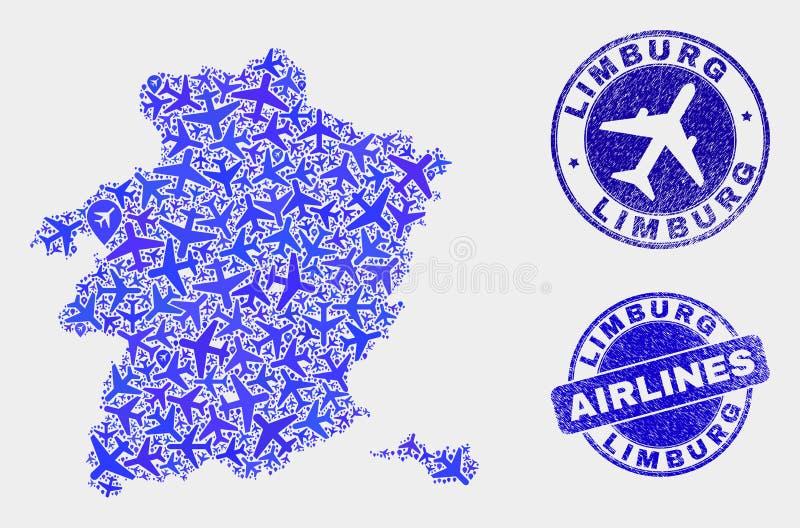 Carte de province de Limbourg de vecteur de mosaïque d'avion et timbres grunges illustration de vecteur