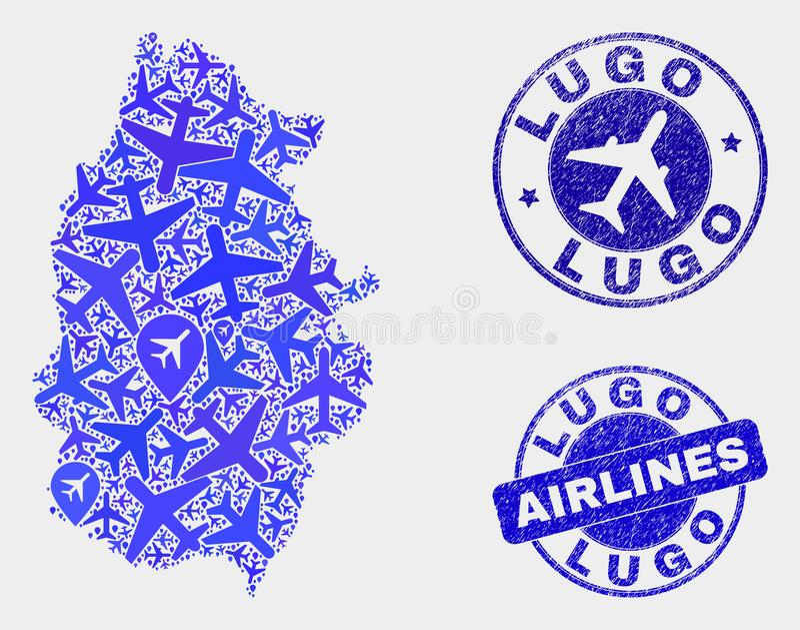 Carte de province de Lugo de vecteur de mosaïque d'avion et timbres grunges illustration libre de droits