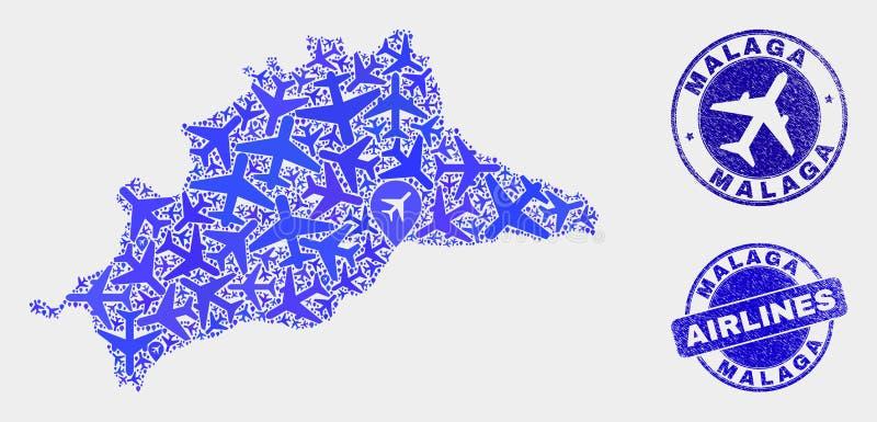 Carte de province de Malaga de vecteur de composition en lignes aériennes et timbres grunges illustration de vecteur