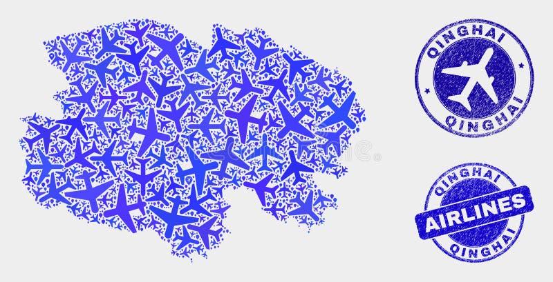 Carte de province de Qinghai de vecteur de mosaïque d'aviation et timbres grunges illustration stock