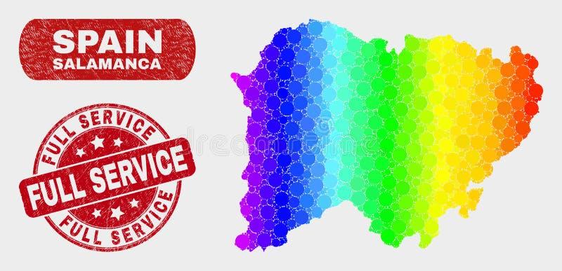 Carte de province de Salamanque de mosaïque de spectre et filigrane grunge de service complet illustration de vecteur