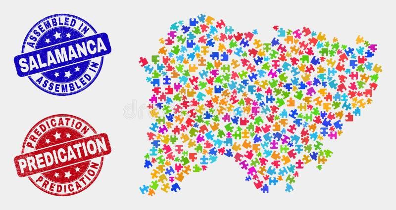 Carte de province de Salamanque de puzzle et filigranes grunges assemblé et d'affirmation illustration stock