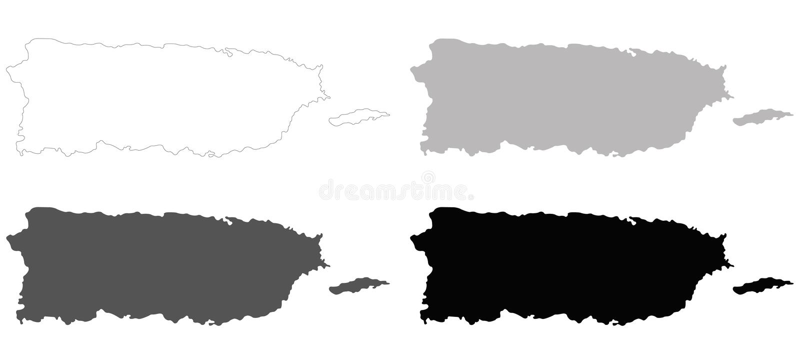 Carte de Puerto Rico - Commonwealth de Puerto Rico illustration libre de droits