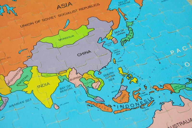 Carte de puzzle (Asie) photographie stock