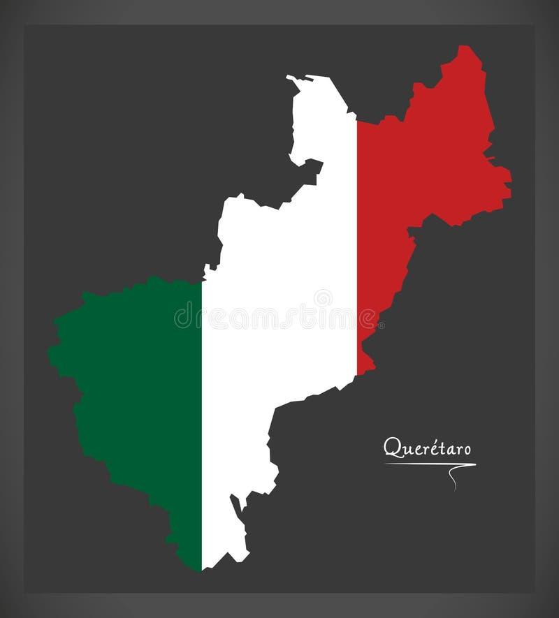 Carte de Queretaro avec l'illustration mexicaine de drapeau national illustration de vecteur