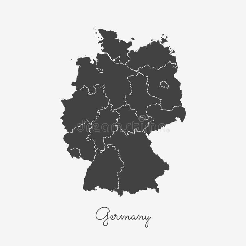 Carte de région de l'Allemagne : contour gris sur le blanc illustration de vecteur