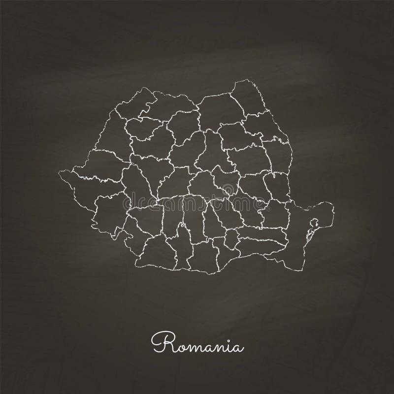 Carte de région de la Roumanie : tiré par la main avec la craie blanche illustration de vecteur
