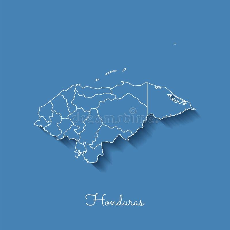 Carte de région du Honduras : bleu avec le contour blanc et illustration libre de droits
