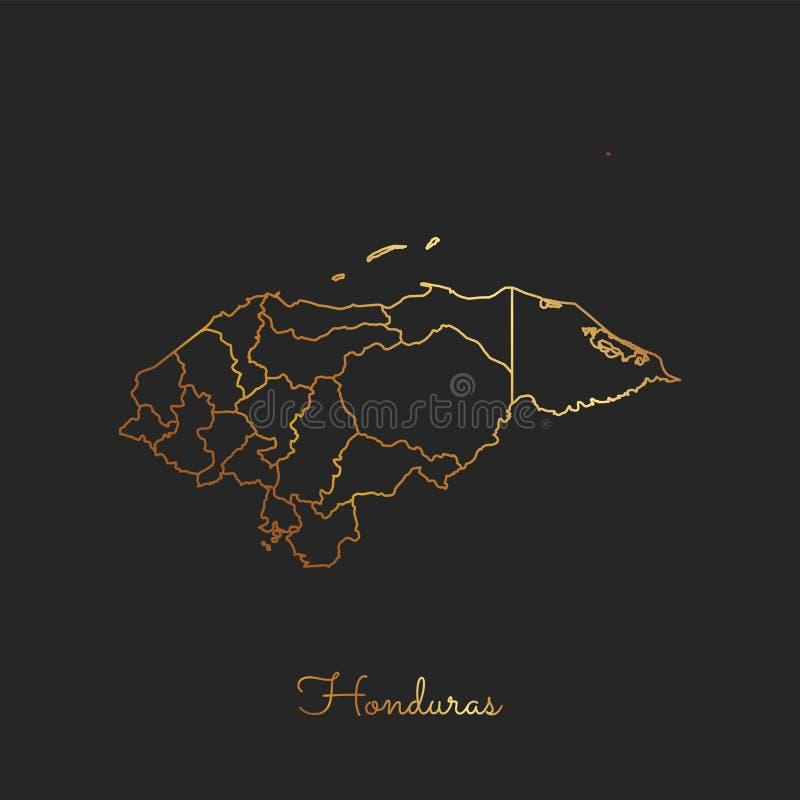 Carte de région du Honduras : contour d'or de gradient dessus illustration libre de droits