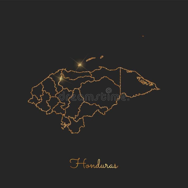 Carte de région du Honduras : contour d'or de scintillement avec illustration stock