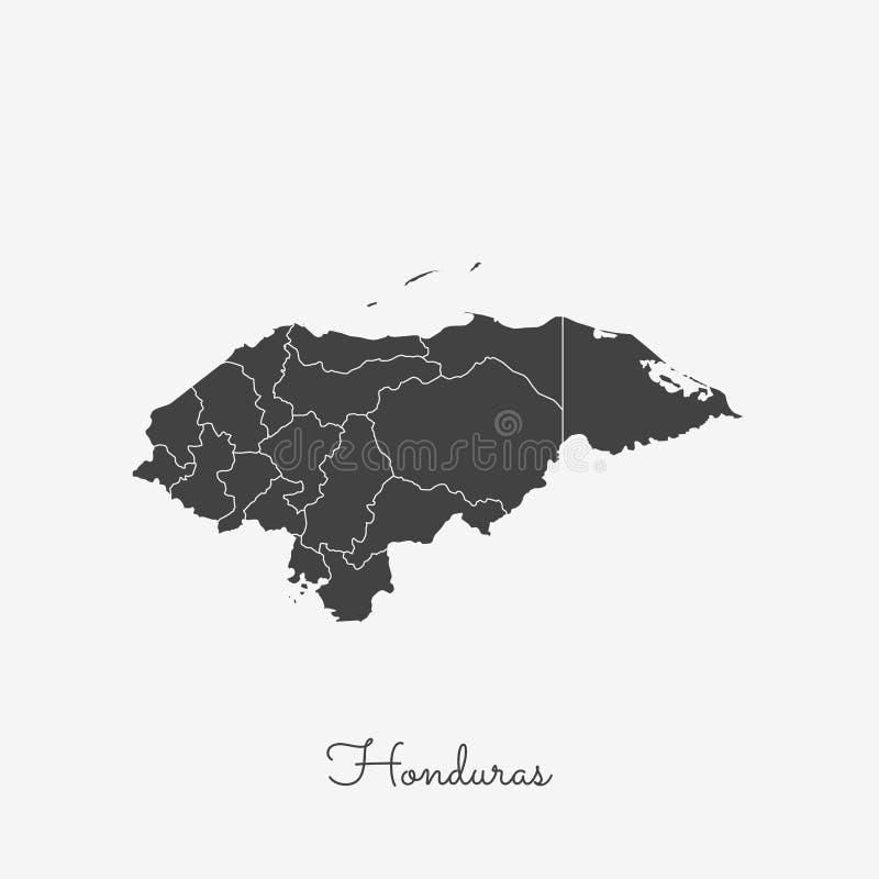 Carte de région du Honduras : contour gris sur le blanc illustration stock