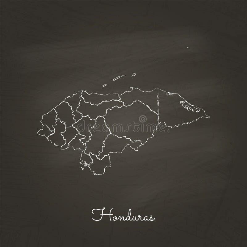 Carte de région du Honduras : tiré par la main avec la craie blanche illustration libre de droits