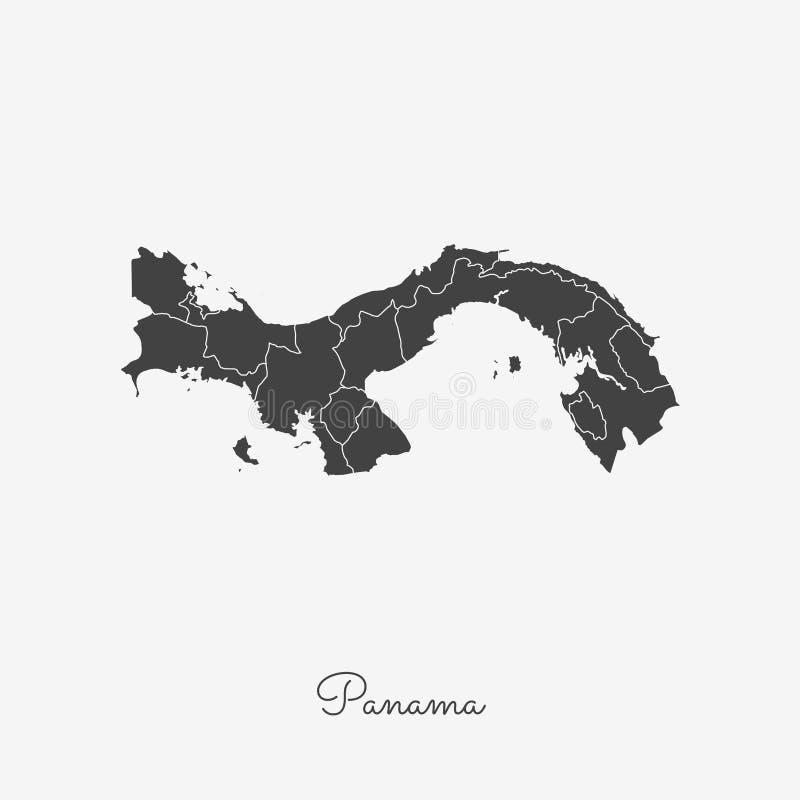 Carte de région du Panama : contour gris sur le blanc illustration stock