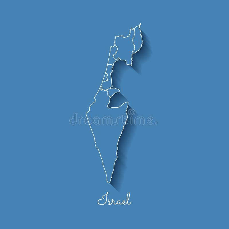 Carte de région de l'Israël : bleu avec le contour blanc et illustration libre de droits