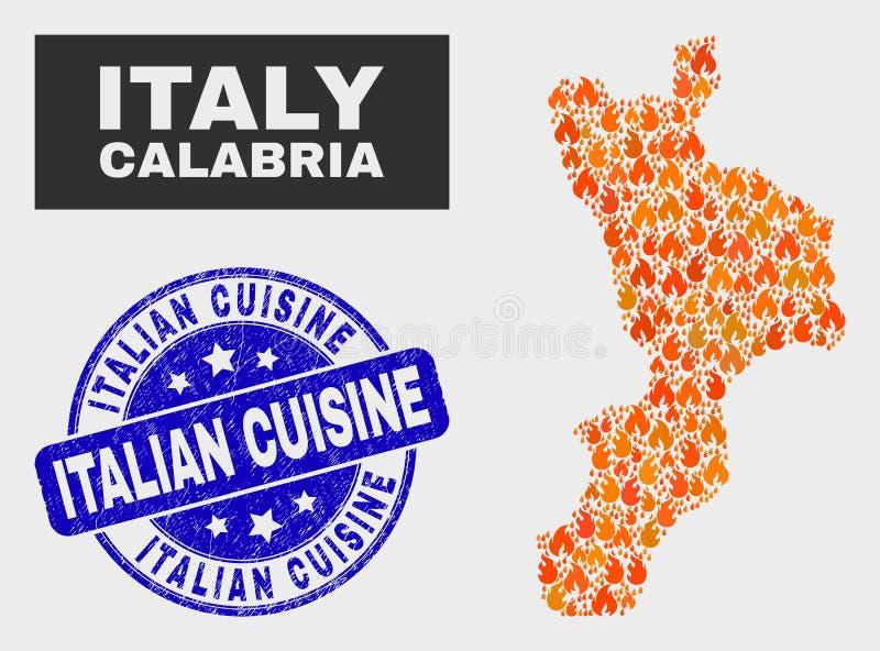 Carte de région de la Calabre de mosaïque de brûlure et joint italien grunge de timbre de cuisine illustration libre de droits