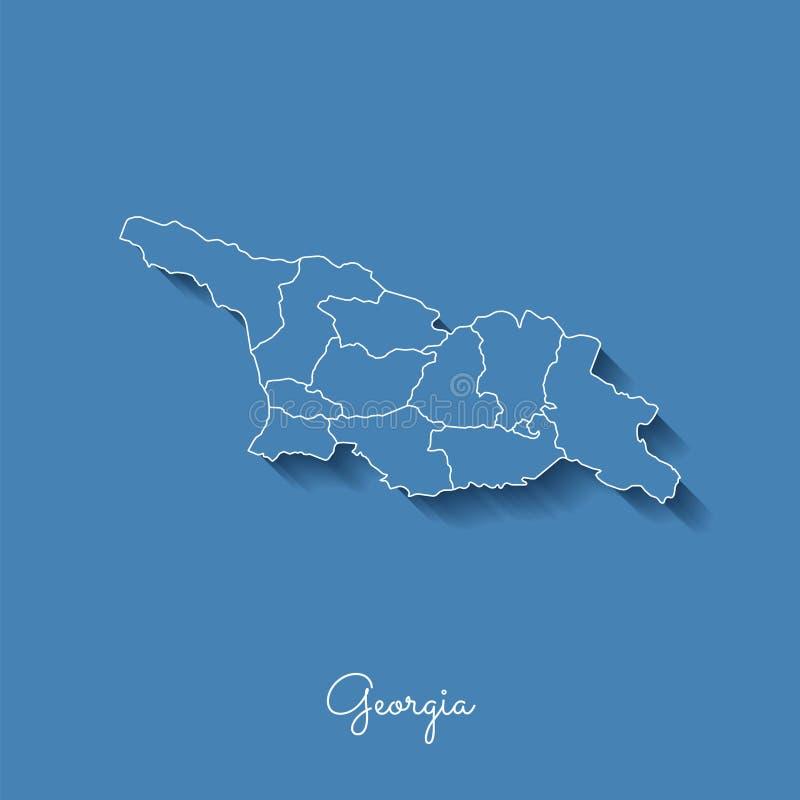 Carte de région de la Géorgie : bleu avec le contour blanc et illustration stock