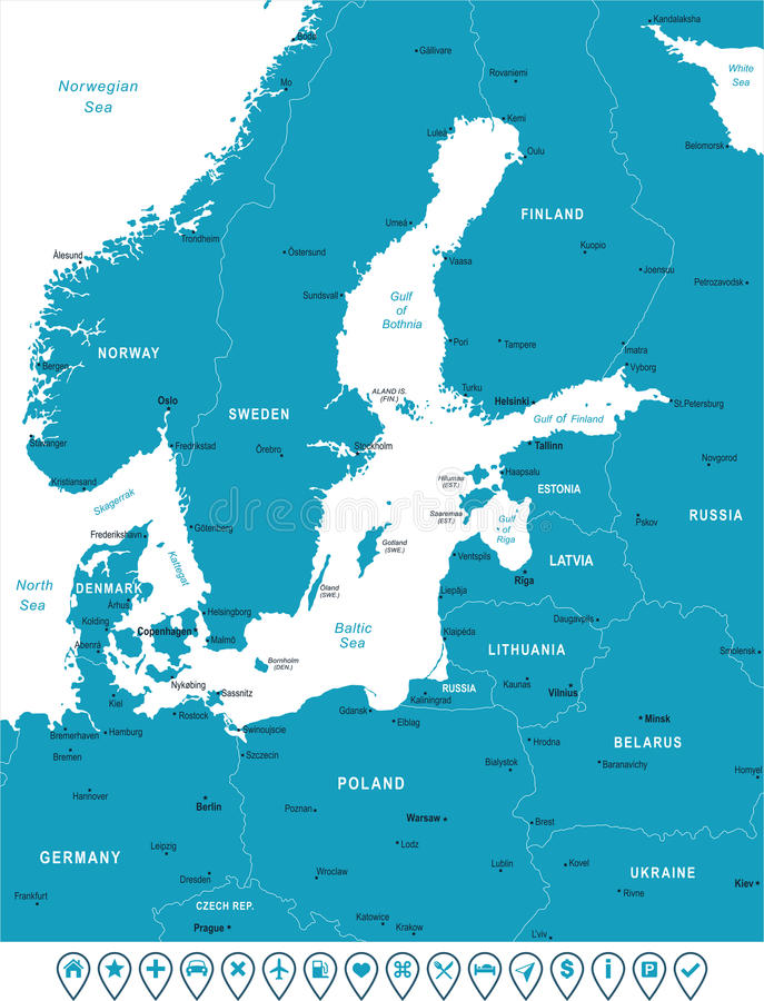 Carte de région de mer baltique - illustration de vecteur illustration de vecteur