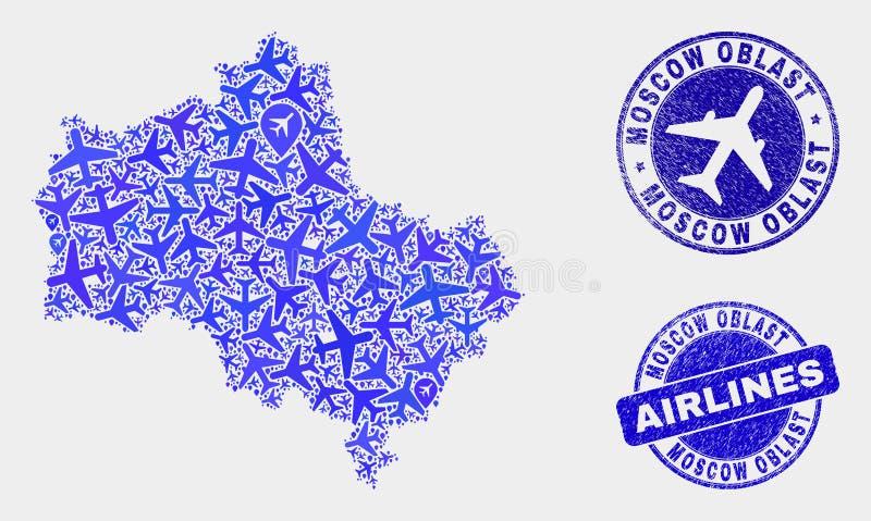 Carte de région de Moscou de vecteur de composition en avion et joints grunges illustration libre de droits