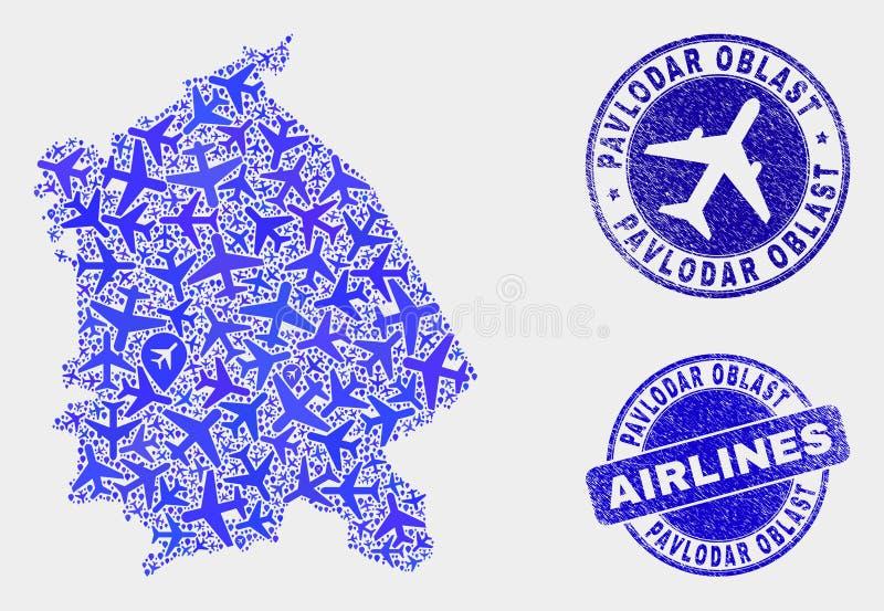 Carte de région de Pavlodar de vecteur de collage d'avion et timbres grunges illustration libre de droits