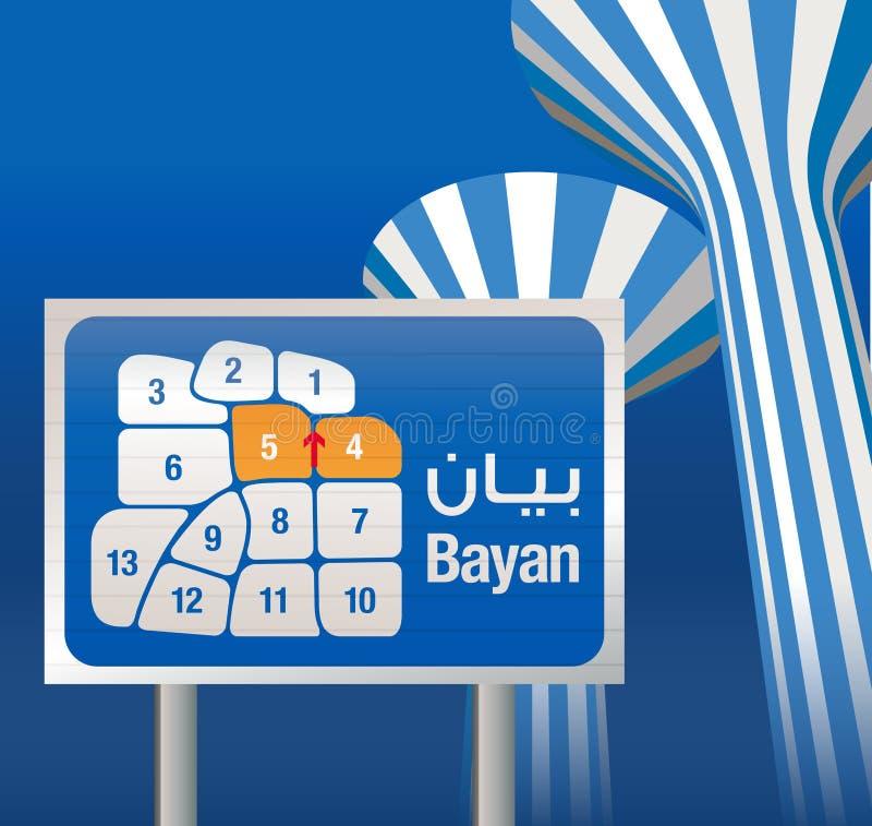 Carte de régions de ville du Kowéit - du Bayan illustration stock