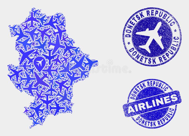 Carte de République de Donetsk de vecteur de mosaïque de ligne aérienne et joints grunges illustration de vecteur