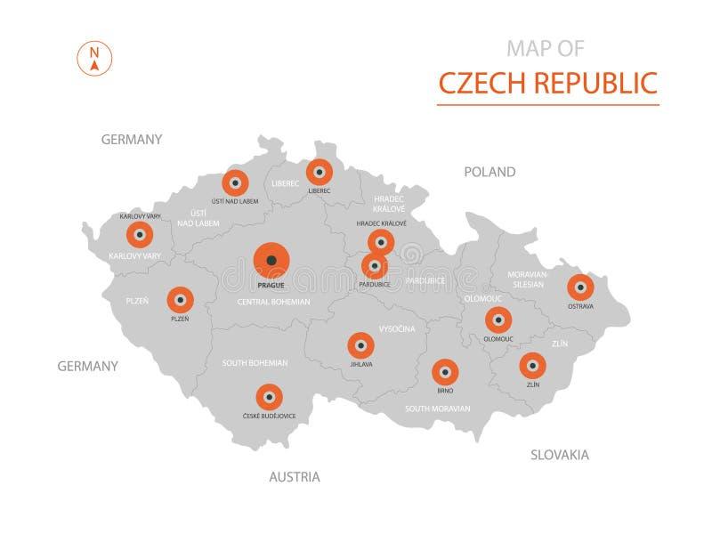Carte de République Tchèque avec des divisions administratives illustration de vecteur