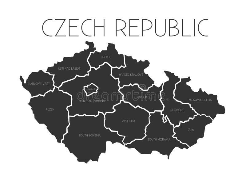 Carte de République Tchèque avec des régions administratives illustration stock