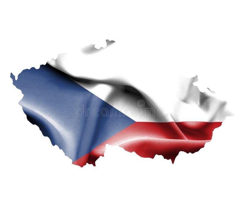 Carte de République Tchèque avec le drapeau de ondulation d'isolement sur le blanc illustration libre de droits