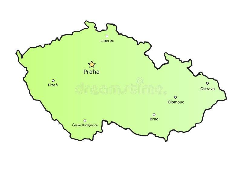 Carte de République Tchèque avec les villes principales illustration libre de droits