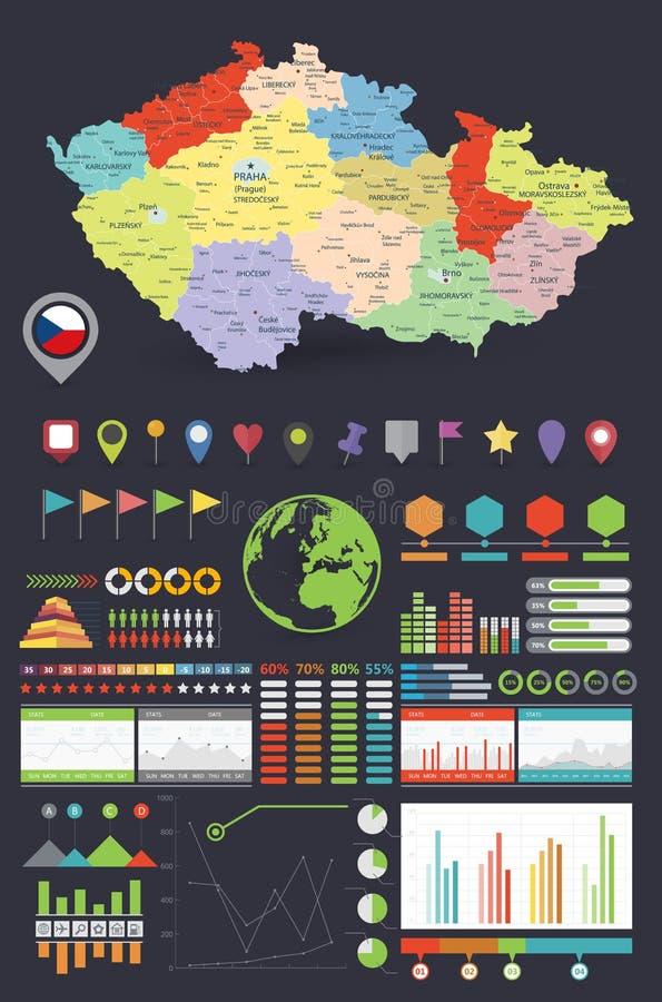 Carte de R?publique Tch?que et ?l?ments de conception d'Infographics Conception color?e Fond fonc? illustration de vecteur