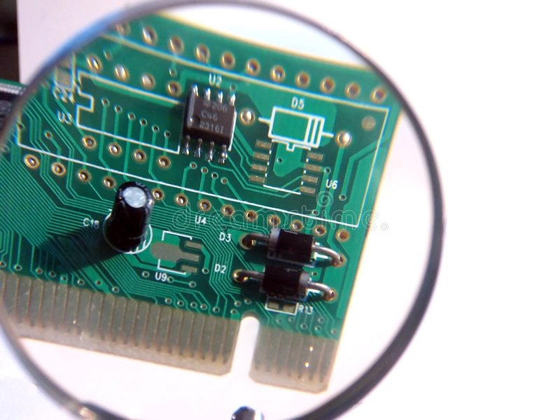 carte de réseau de PCI dans la loupe photo libre de droits