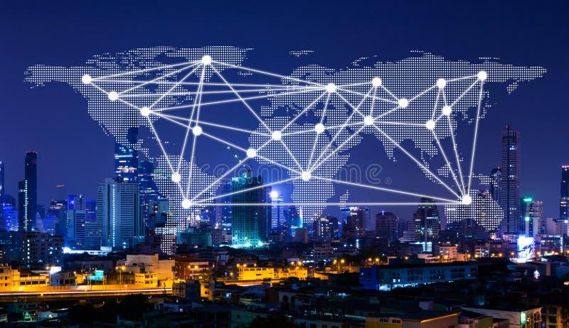 Carte de réseau et du monde sur la ville, le concept de mise en réseau, la technologie et le concept de communication de connexio images stock