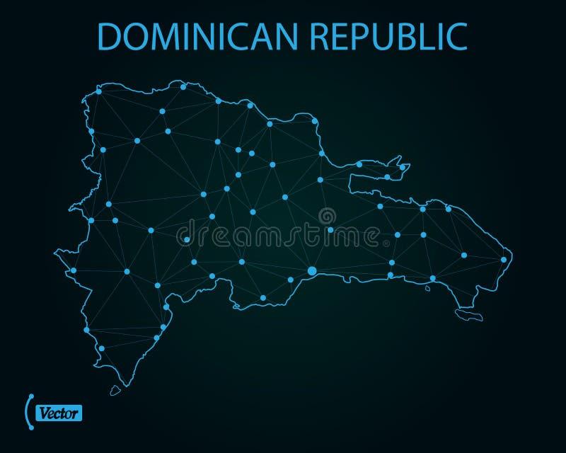 Carte de réseau de la République Dominicaine  Illustration de vecteur Carte du monde illustration stock