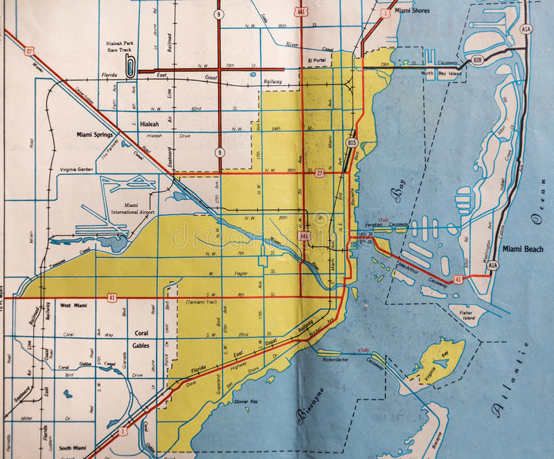 Carte de rétro Miami, la Floride image libre de droits