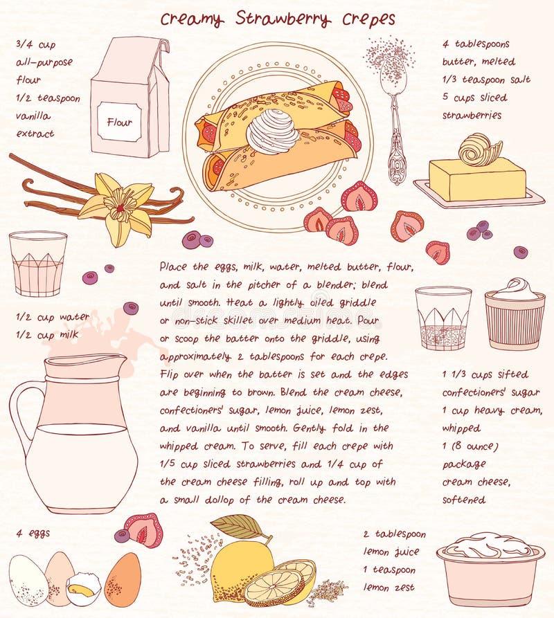 Carte de recette Crêpes crémeuses de fraise illustration stock