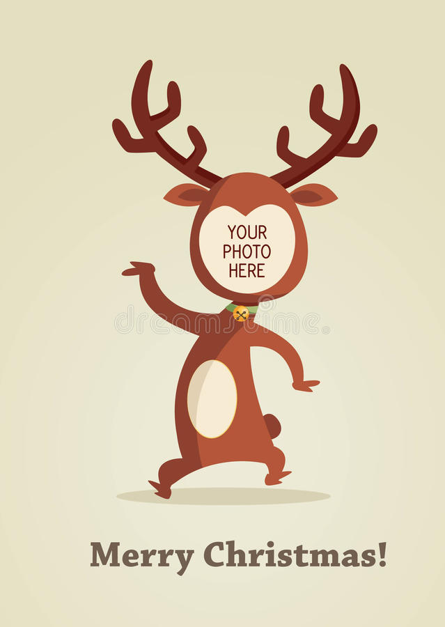 Carte de renne de Noël avec la place pour votre photo illustration libre de droits