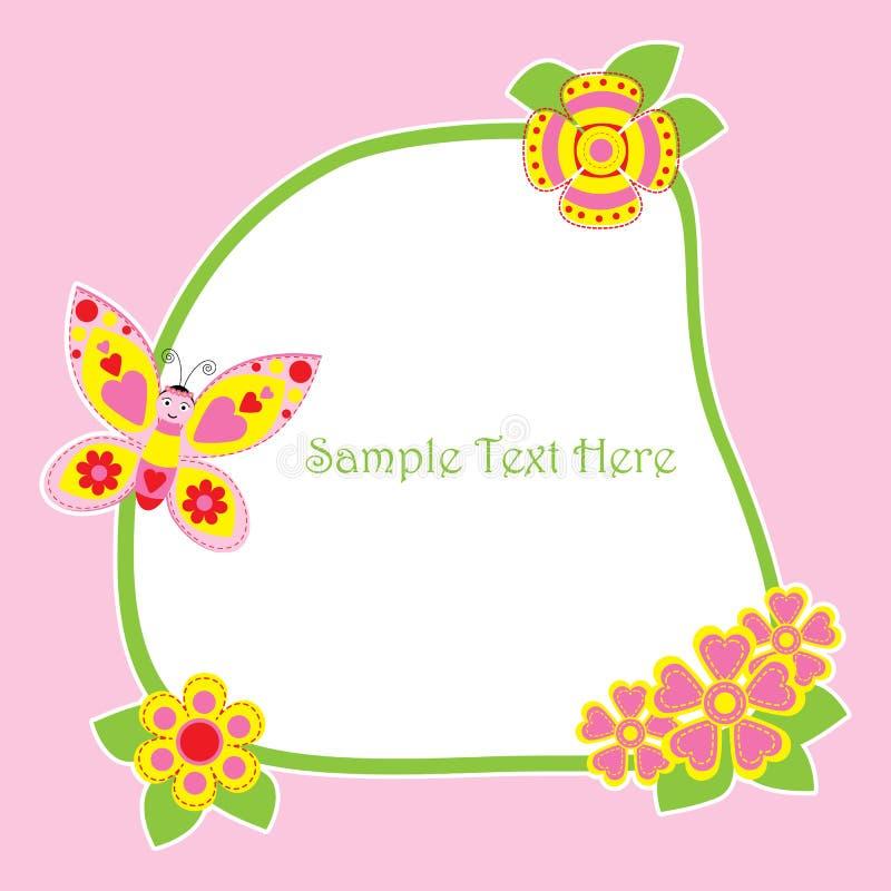 Carte de ressort avec le cadre mignon de papillon et de fleurs illustration de vecteur