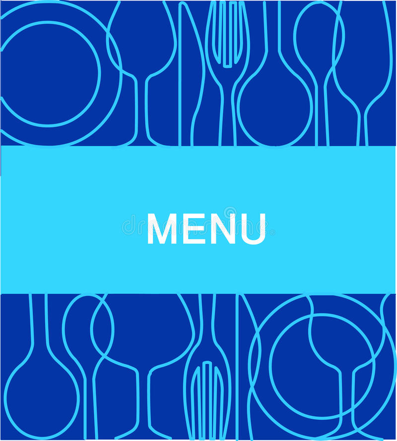 Carte de restaurant avec un fond dans le bleu -2 illustration libre de droits