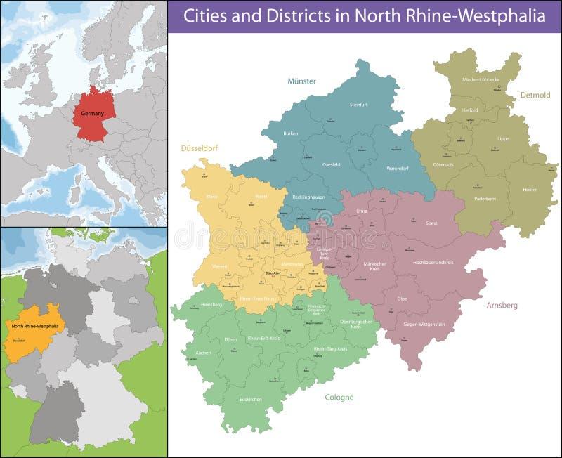 Carte de Rhénanie-du-Nord-Westphalie illustration de vecteur