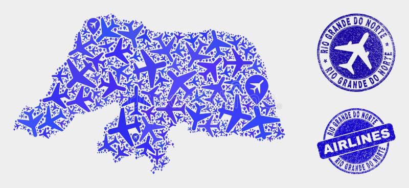 Carte de Rio Grande Do Norte State de vecteur de mosaïque d'avion et timbres grunges illustration de vecteur