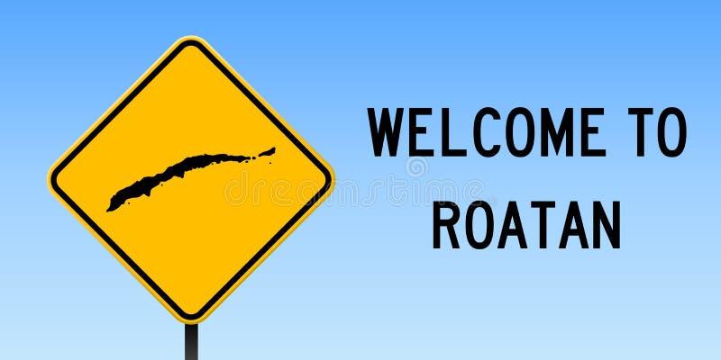 Carte de Roatan sur le panneau routier illustration libre de droits