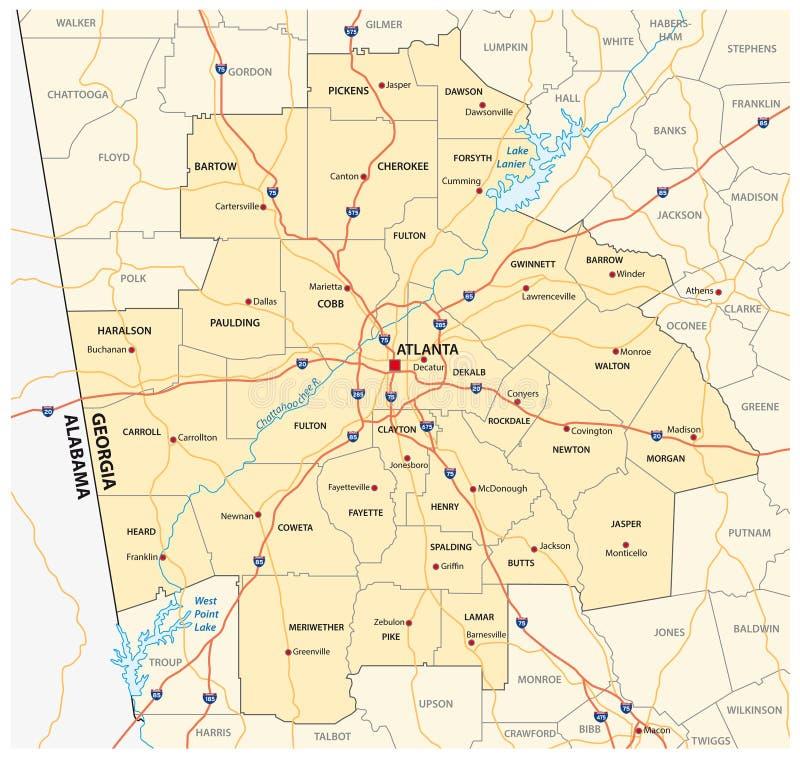Carte de route administrative et politique du ‹la Géorgie d'†de ‹d'†de zone métropolitaine d'Atlanta illustration de vecteur