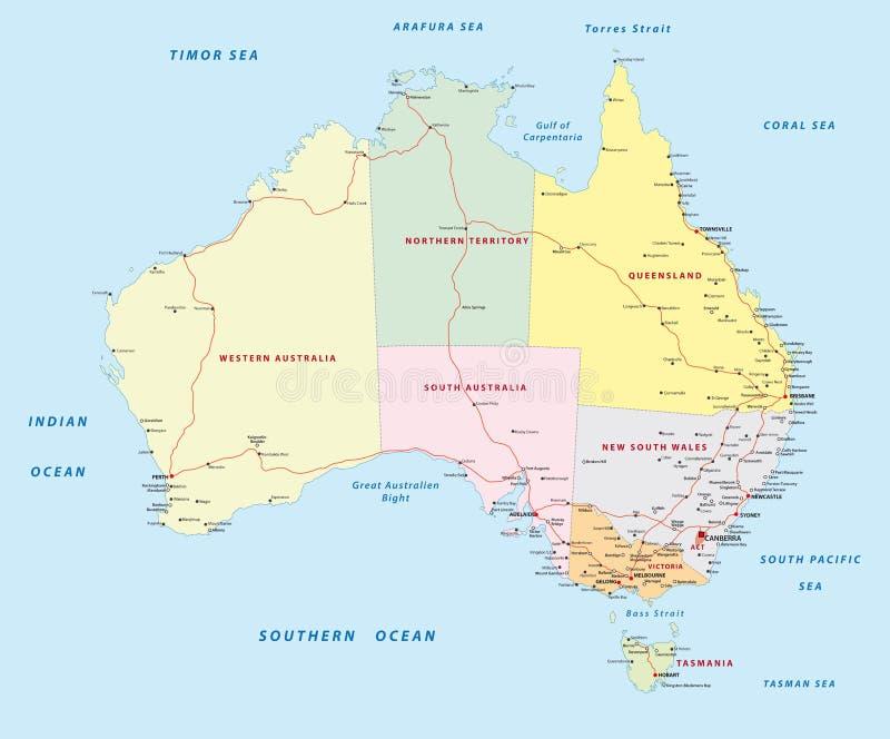 Carte de route d'Australie illustration stock