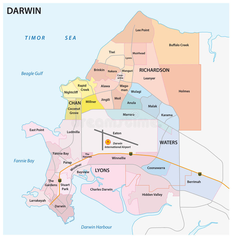 Carte de route de Darwin, administrative et politique illustration libre de droits
