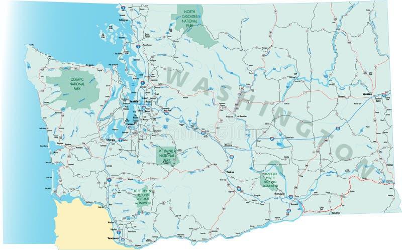 Carte de route de l'état de Washington illustration libre de droits