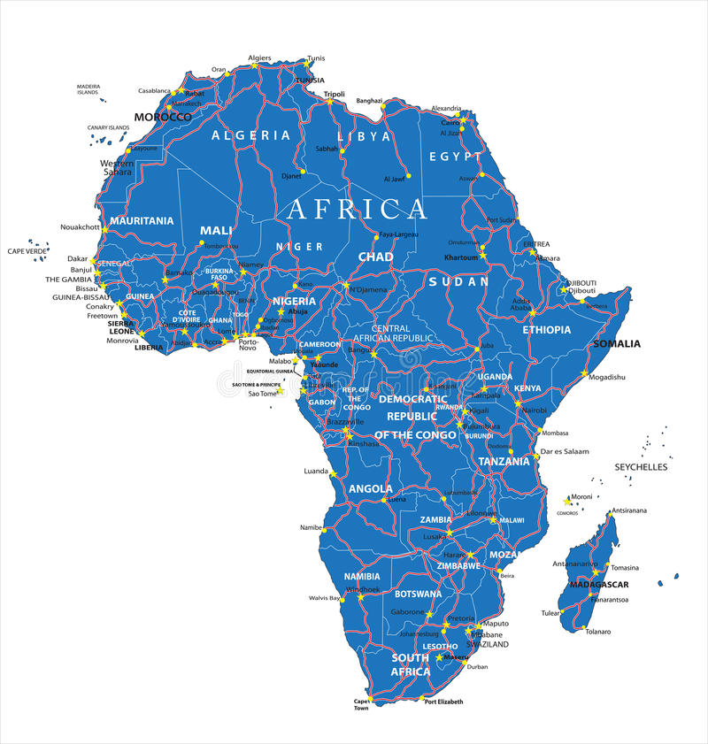 Carte de route de l'Afrique illustration stock
