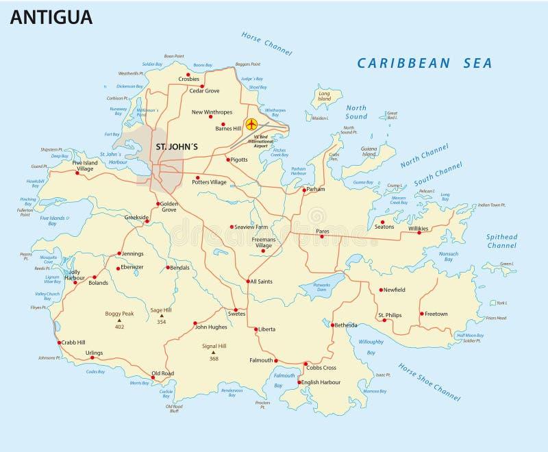 Carte de route de l'Antigua illustration de vecteur