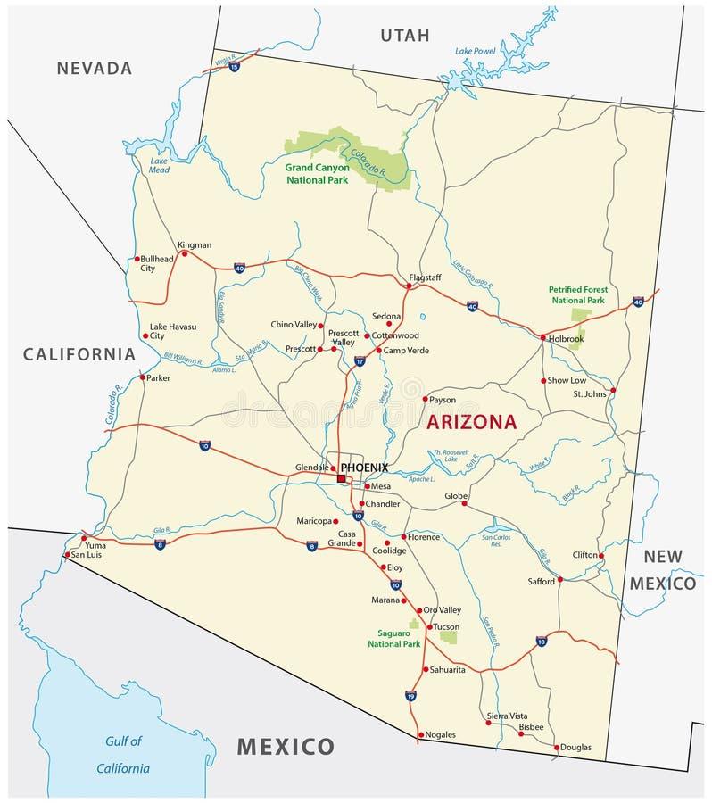 Carte de route de l'Arizona illustration libre de droits