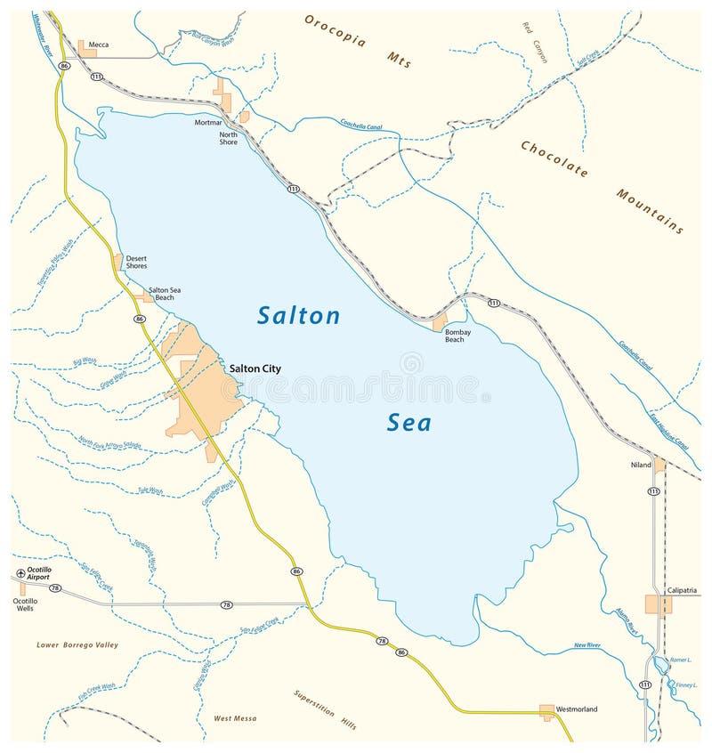 Carte de route de la mer californienne de salton illustration libre de droits