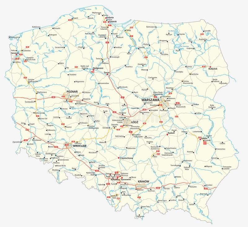 Carte de route de la Pologne illustration de vecteur